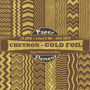 Coffee Brown & Gold Metallic Digital Paper  - Chevron Christmas Digital Backgrounds, Scrapbook Paper - Instant Download