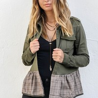Come Together Olive Ruffle Jacket