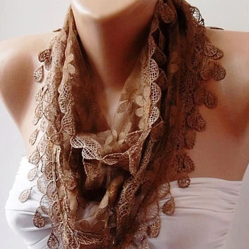 Caramel - Brown  Shawl / Scarf with Lacy Edge--