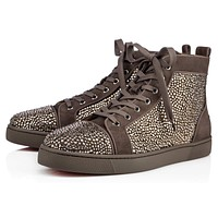Christian Louboutin Cl Louis Strass Mens Flat Roche Strass 09w Sneakers