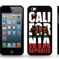 California State Flag, w / Large Golden State Bear, Republic Text and Star, Snap-on Cover Hard Carrying Case for iPhone 4/4s (Black)