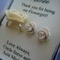 Ask flowergirl, junior bridesmaids. Rose ring, matching earrings. FREE personalized notecard.