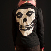 Upcycled Black Blazer (Women's Small S) with Misfits Back Patch