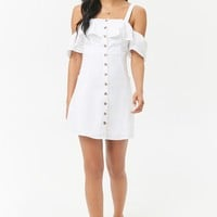 Flounce Linen Button-Front Dress