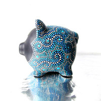 Piggy Bank: Hand painted Piggy Dot painting Black and Blue Piggy
