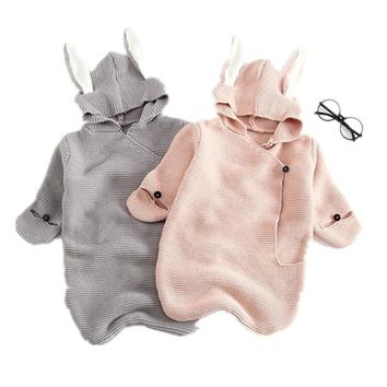 2018 Baby Girl Winter Clothes Boys And Girls Sweaters 3D Rabbit Cotton Pullover  Knitted Sleeping Bag Infants Knit Wear Clothes