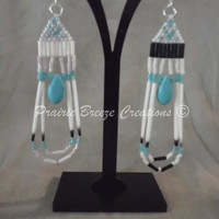 Beaded Porcupine Quill Dangle Earring