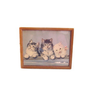 Vintage Cats Print Art, Wood Framed Kittens