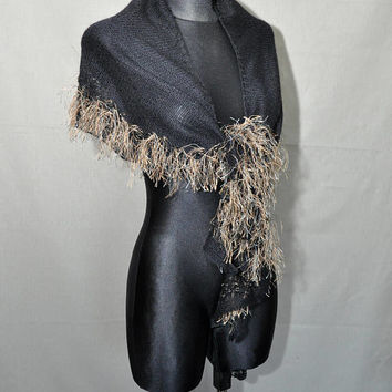 Black Hand Knitted Shawl with Tassels, Boho Style Shawl, 80s Shawl, Black Fringe Scarf, Crescent shaped shawl