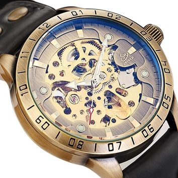 Vintage Steampunk Automatic Watch Luxury Men Skeleton Stainless Steel Leather Casual Mechanical Wristwatch Engraved Reloj Mujer