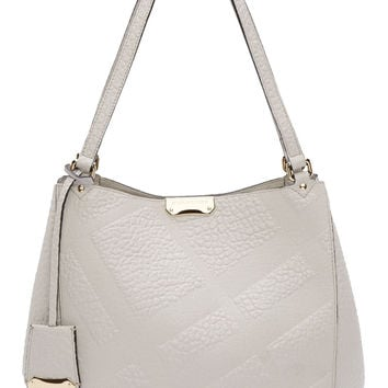 Burberry London Grey Embossed Check Canter Small Tote