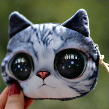 deals] Plush Cute Kitten Purse Female Fashion Personality Loose Change Coin Wallet = 5988094145
