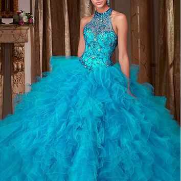 [168.99] Marvelous Tulle Halter Neckline Ball Gown Quinceanera Dresses With Beaded Embroidery - dressilyme.com