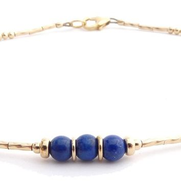 Lapis Lazuli 14k Gold Filled Minimalist Dainty Anklet March Birthstone