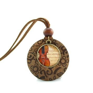 2017 New Design Long Wood Necklaces Violin Pendant Violin jewelry Music Hipster jewelry Glass Necklace NWL-001
