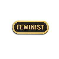 Feminist Enamel Lapel Pin in Black and Gold