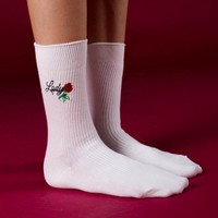 Rose Lady Embroidered Sock