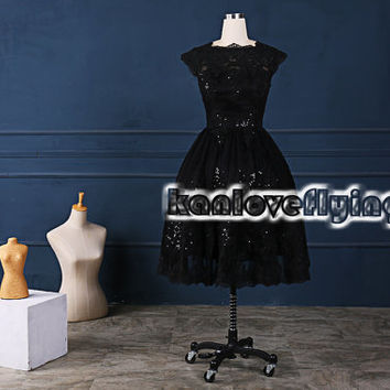 Unique black tea length lace sequins homecoming dress cover shoulder,black short lace prom dresses,back to school party dress,sweet 16 dress