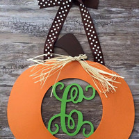 Custom Painted Halloween PumpkinThanksgiving Wood Wooden Fall Monogram Door Wreath Decoration Holiday Decor Gift Halloween Door Decor