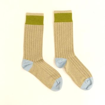 Solid Oatmeal with Lime & Powder Blue Stripe Socks