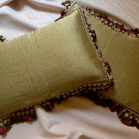 Pair of Green Rubelli Texture Fabric Throw Pillow Cushion Covers - Handmade in Italy