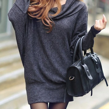 Dark Grey Cotton Women Fashion ROund Neck Long Sleeve New Korean Autumn Style Casual Loose Short Length Dress One Size FZ73263-26dg = 1827687940