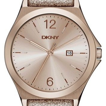 Women's DKNY 'Parsons' Leather Strap Watch, 34mm - Rose Gold