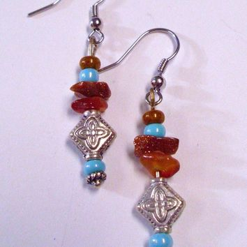 Red Agate and Gold Stone Multistrand Bracelet and Earring Set