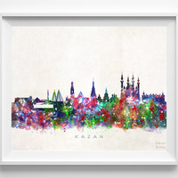 Kazan Skyline Print, Russia Print, Kazan Poster, Russia Cityscape, Wall Decor, Skyline, Giclee Art, Living Room Decor, Christmas Gift