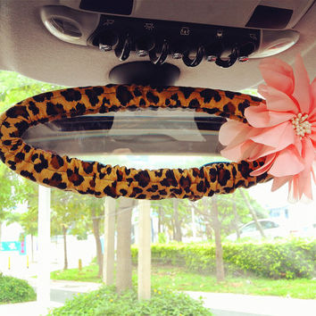 Tan leopard print Rearview Rear View Mirror Cover with chiffon flower, Unique Automobile Accessories, Car Decor, Automobile rearview cover
