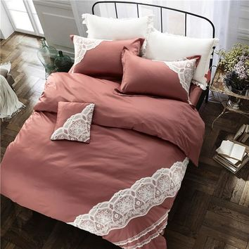 Luxury embroidered bedding set European style lace ruffle duvet cover wrinkle bed sheet coffee bedspread 100%cotton queen king
