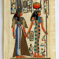Isis and Queen Nefertari | Ancient Egyptian Papyrus Painting