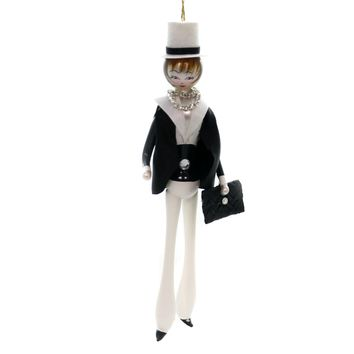 De Carlini LADY IN BLACK JACKET w/ HAT Ornament Mid Year 2018 Italian Do7588