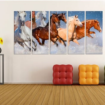 large canvas art for living room, wall art horses running, animal wall art,  fine art canvas, home wall decor canvas art 8a33