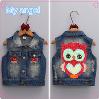 Han edition of new  2016 autumn tide explodes the children female baby sequins owl denim waistcoat vest shawl of the girls