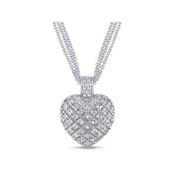 Miabella 1 Carat T.W. Diamond Sterling Silver Heart Women s Pendant Necklace  with 3-Strand Chain 5d0670b827