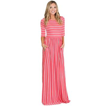 Z  Chicloth Rosy White Striped Casual Pocket Style Maxi Dress