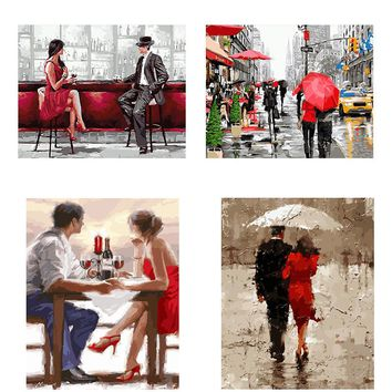 red umbrella Love Couple painting by number diy handpainted oil painting canvas art poster print on the wall