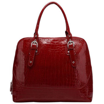 Red Crocodile Print Satchel Style Computer Fashion Handbag