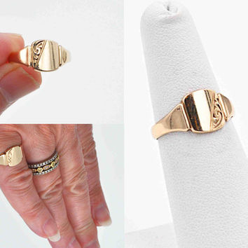 Vintage 9CT Yellow Gold Signet Ring, 9K Gold, RW Wingate Ltd, Birmingham, 1968, Engraved Design, Blank, Size 6, Super Nice! #c185