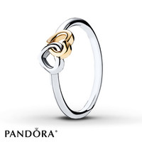 PANDORA Ring Heart to Heart Sterling Silver/14K Gold