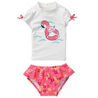 Gymboree UPF 50+ Kitty In Pool Rashguard Swimsuit Set - Girls 2T