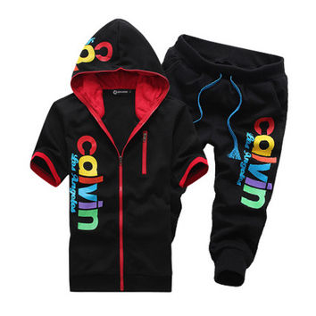 Summer New Hoodie Tee with Shorts Sport Set
