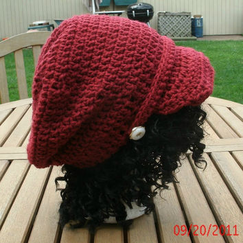 Hand Crocheted Hat - The Hall of Fame Slouch in Cranberry - Crochet Hat handmade-slouchy newsboy cap