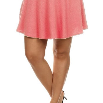 Pleated Tennis Skirt - Coral - Plus Size - 1X - 2X