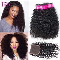 Tinashe Hair Curly Bundles With Closure Remy Human Hair 3 Bundles With Closure Brazilian Hair Weave Bundles With Closure