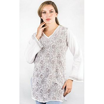Rishika Embroidered White Tunic