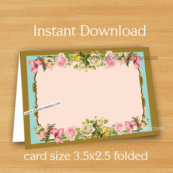 Blank Card - Food tent cards, Place cards,Thank you card, 3.5 x 2.5 card, INSTANT DOWNLOAD - letter size PDF - Printable vintage rose 6