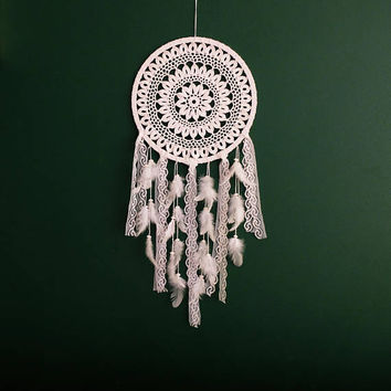 Large Dream Catcher for Wedding or Nursery Decor, Bohemian Decor, White Dream Catcher, White Dreamcatcher,  Large Wall Hanging, Crochet
