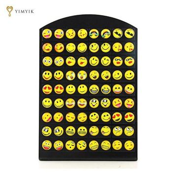 ac spbest YimYik New Design 1 set/36 pairs Emoji Stud Women Earrings Fashion Smile Face Earrings Funny Smiley Earring For Ladies Girl Gift